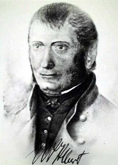 Porträt des Drahtseilerfinders Julius Albert, Zeichnung von Unbekannt, 19. Jahrhundert